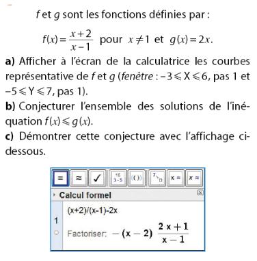 Calculatrice et étude des courbes avec conjecture : exercices en 2de.