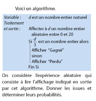 Algorithme qui consiste à lire l'affichage en sortie : exercices en 2de.