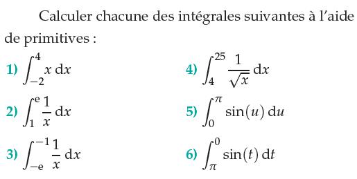Calculer chacune des intégrales : exercices en terminale S.