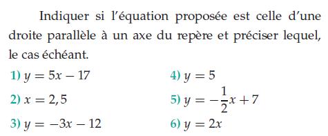 Indiquer si l'équation est une droite parallèle : exercices en 2de.