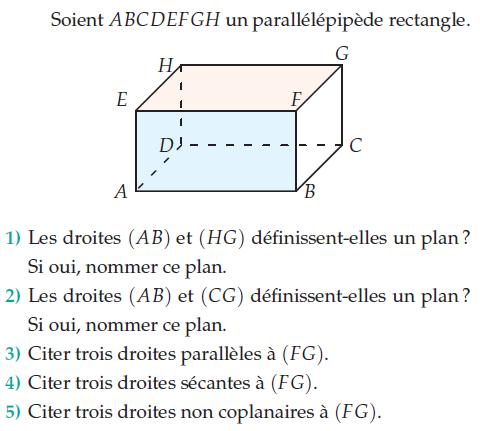 Droites parallèles et coplanaires dans un parallélépipède : exercices en 2de.