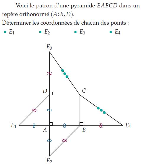 Patron d'une pyramide et coordonnées : exercices en 2de.