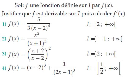 Justifier que f est dérivable sur I : exercices en terminale S.