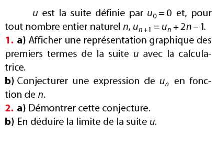 suite récurrente et conjecture de la limite : exercices en terminale S.