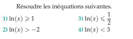 Résoudre les inéquations suivantes. : exercices en terminale S.