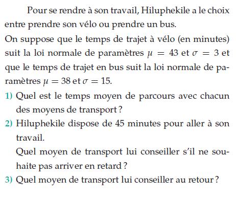 Moyen de transport entre le vélo et le bus : exercices en terminale S.