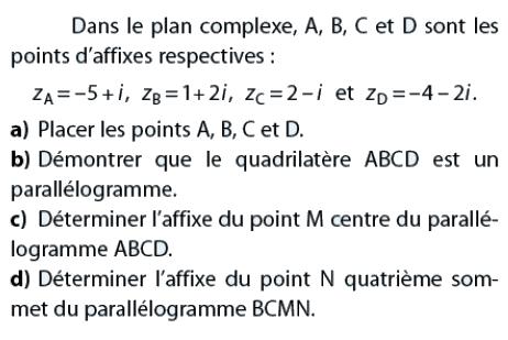 Démontrer que le quadrilatère est un parallélogramme : exercices en terminale S.