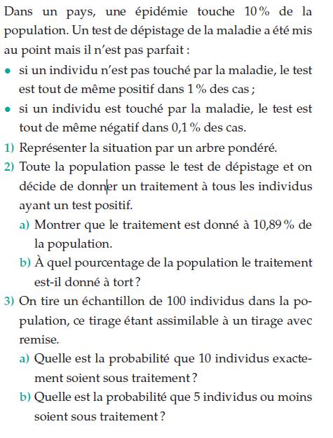 Une épidémie dans un pays et les probabilités : exercices en terminale S.
