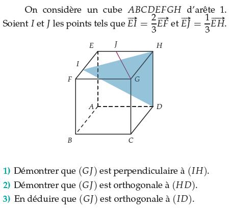 Démontrer que des droites sont parallèles dans un cube : exercices en terminale S.