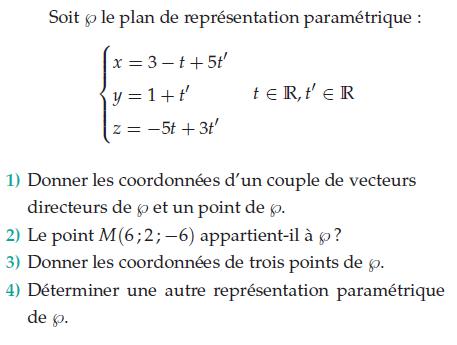 Donner les coordonnées d'un couple de vecteurs : exercices en terminale S.