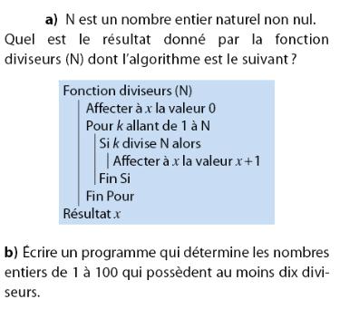 Donner un programme qui fournit les 100 premiers entiers : exercices en 2de.