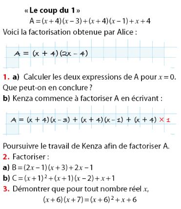 Calcul littéral et factorisation : exercices en 2de.