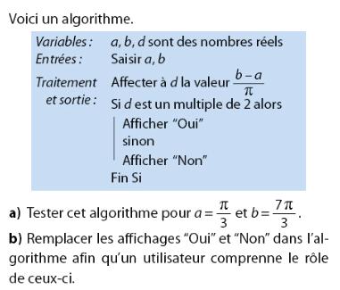 Algorithme et trigonométrie avec variables : exercices en 2de.