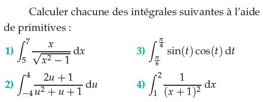 Calculer les intégrales à l'aide des primitives : exercices en terminale S.