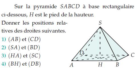 Pyramide à base rectangulaire : exercices en 2de.