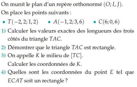 Calculer des longueurs et coordonnées : exercices en 2de.