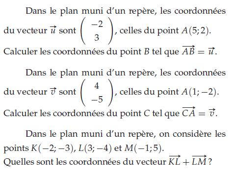 Calculer les coordonnées des vecteurs : exercices en 2de.