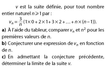 Tableur et conjecture de l'expression de la suite en fonction de n : exercices en terminale S.
