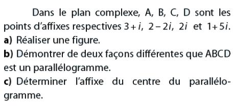 Déterminer l'affixe du centre du parallélogramme : exercices en terminale S.