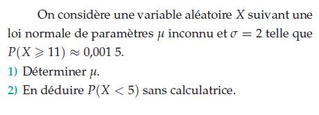 Calculer P(x<5) sans calculatrice : exercices en terminale S.