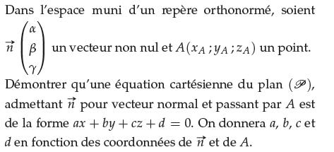 Déterminer une équation cartésienne du plan : exercices en terminale S.