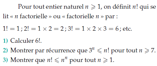 Utilisation du produit factoriel : exercices en terminale S.