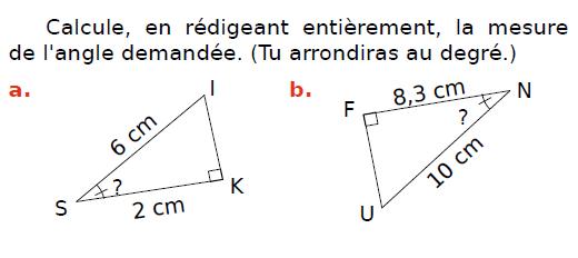 Calcul de la mesure d'un angle : exercices en 3ème.