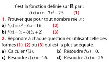 Fonction et calculs d'images avec équations : exercices en 2de.