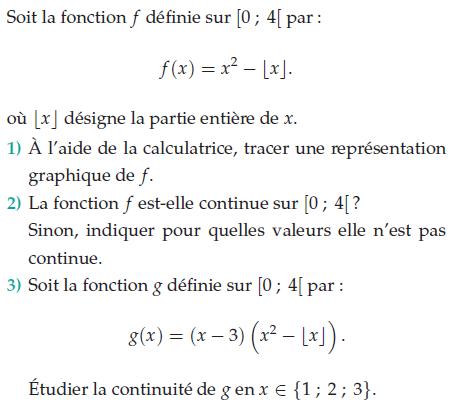 Fonction continue sur un intervalle : exercices en terminale S.