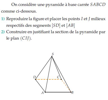 Construire la section de la pyramide : exercices en terminale S.