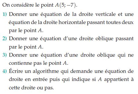 Donner une équation et un algorithme : exercices en 2de.