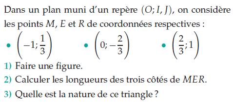 Calculer les longueurs des trois côtés d'un triangle : exercices en 2de.