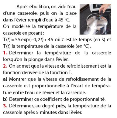 La température d'ébullition de l'eau et exponentielle : exercices en terminale S.
