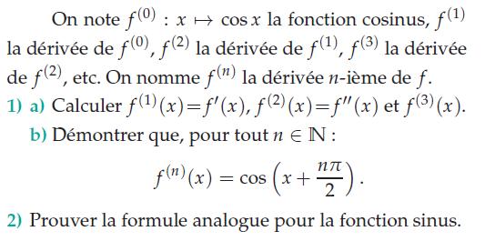 Démontrer la dérivée nième d'une fonction : exercices en terminale S.
