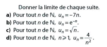 Donner la limite de chaque suite : exercices en terminale S.