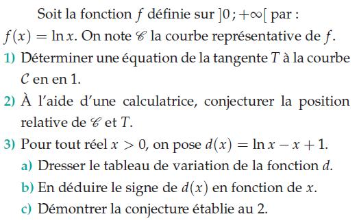 Etude d'une fonction logarithme et utilisation de la calculatrice : exercices en terminale S.