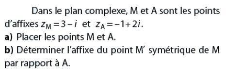 Déterminer l'affixe du point M' symétrique : exercices en terminale S.