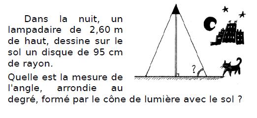 Etude d'un lampadaire : exercices en 3ème.
