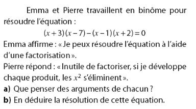 Factorisation et résolution d'une équation : exercices en 2de.