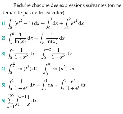 Propriétés de l'intégrale et sa linéarité : exercices en terminale S.