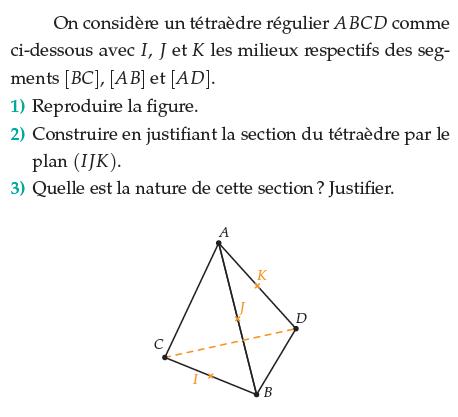 Quelle est la nature de cette section ? : exercices en terminale S.
