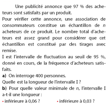 Association des consommateurs et intervalle de fluctuation : exercices en 2de.