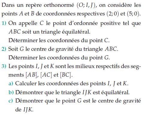 Déterminer les coordonnées du centre de gravité : exercices en 2de.