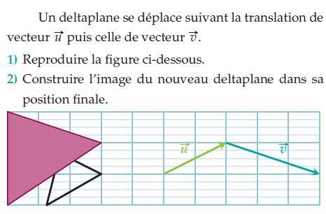 Un deltaplane se déplace suivant la translation : exercices en 2de.