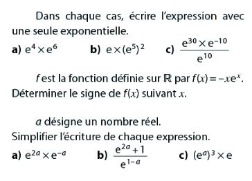 Simplifier des exponentielles et écrire l'expression : exercices en terminale S.