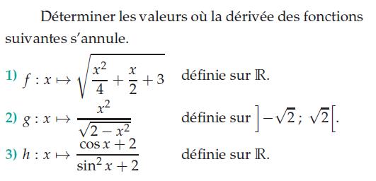 Valeurs où la dérivée s'annule : exercices en terminale S.