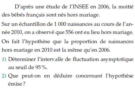Une étude de l'INSEE sur les bébés français hors mariage : exercices en terminale S.