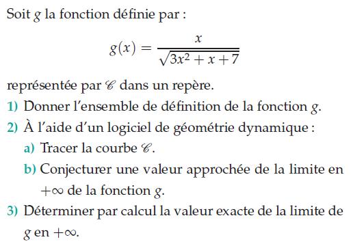 Logiciel de géométrie dynamique et valeur exacte d'une limite : exercices en terminale S.