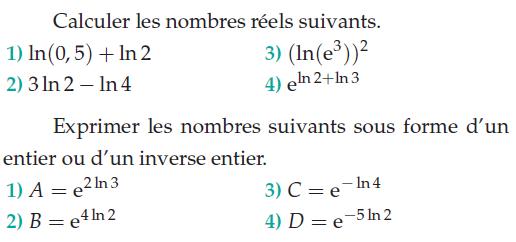 Exprimer les nombres logarithmes sous forme d'entier : exercices en terminale S.