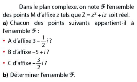 Déterminer un ensemble de points : exercices en terminale S.